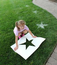 For your little one's next birthday party why not add glamour to the lawn or path using flour & a stencil! Cut out the stencil to match your theme - dinosaurs, mermaids, whatever fits! Other kids party ideas: http://www.under5s.co.nz/shop/Hot+Topics/Activities/Birthday+Parties.html