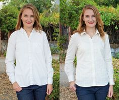 Granville pattern on right (drafted for pear shape). RTW button-up on left.