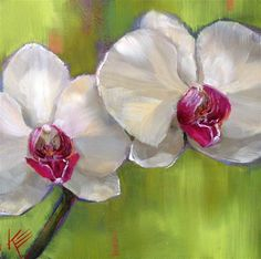 """Daily Paintworks - """"White on Lime"""" by Krista Eaton"""