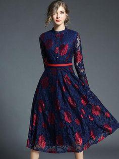 Cheap High Fashion Women S Clothing Lace A Line Dress, Lace Midi Dress, Flare Dress, Dress Up, Embroidery Dress, Winter Dresses, Women's Fashion Dresses, Women's Dresses, Classy Outfits