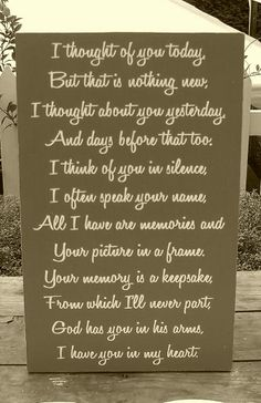 Memory Sign Wedding I Thought About You Today In Of Via Etsy Need To Get This For My Dad Mom