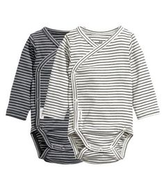 Dark gray/striped. CONSCIOUS. Wrap-style bodysuits in soft organic cotton jersey with long sleeves and snap fasteners at side and at gusset.