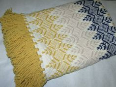 Vintage Swedish Weave Monks Cloth Woven Afghan Throw Blue Mustard Yellow Beige