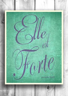 Elle est forte - She is strong -Typographic print inspirational poster by VictoryPrintShop on Etsy, $18.00
