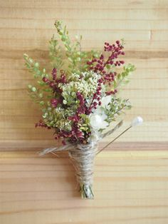 Burgundy SHABBY CHIC Dried Flower Wedding Boutonniere - Perfect for your RUSTIC Country Wedding. $8.50, via Etsy.
