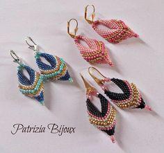 """Tutorial Ciondolo orecchini pendenti """"Stella Sirio"""" -  Tecnica Peyote con Rocailles e Delica Miyuki #earrings #phototutorial #tutorial #pattern"""