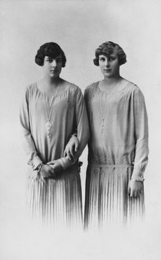 The Infanta Beatriz and the Infanta María Cristina, daughters of Alfonso XIII