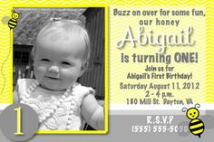 bumble bee themed party - digital photo birthday invitation on etsy.com/shop/mercyink