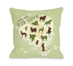 Bentin Pet Decor Little Dog Big Love Throw Pillow, 16 by 16-Inch