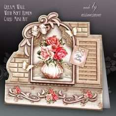 Cream Wall With Soft Roses Card Mini Kit
