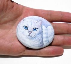 White Cute Cat Hand Painted Pebble Small Fridge by RockArtAttack