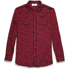 Coach Printed Piped Blouse ($395) ❤ liked on Polyvore featuring tops, blouses, red, vintage blouses, red silk top, western style shirts, vintage silk blouse and vintage print blouse