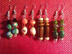 handmade earrings pendientes de abalorios hechos a mano