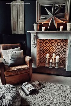 [orginial_title] – Veronica Terrazas House: Adding Hygge to the Living Room A vintage leather armchair beside a marble fireplace with Bert & May encaustic patterned tiles in grey and white in this hygge living room Dark Living Rooms, Living Room With Fireplace, Living Room Chairs, Home Living Room, Living Room Designs, Living Room Decor, Empty Fireplace Ideas, Unused Fireplace, Decorative Fireplace