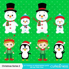Christmas Digital Clipart Christmas Clipart Santa от Cutesiness