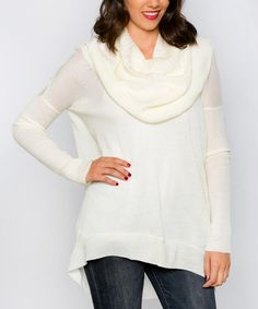 Look at this White Plum Ivory Alta Cowl Neck Sweater on #zulily today!