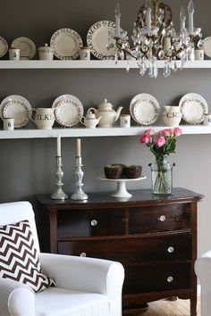 Our Life with Miley - Lovely dining room with warm gray walls paint color, white Ikea ...