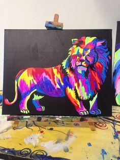 Technicolor Lion Full painting by Lauren Luna www.artistaluna.com