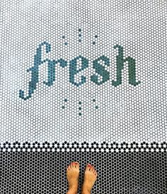 So fresh and so clean! How cool to discover that made this cool floor in the laundry room herself… Bathroom Floor Tiles, Tile Floor, Your Smile, Make You Smile, Jenna Sue, Penny Tile, Bathroom Cleaning, Block Lettering, Modern Retro