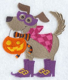 Caped Canine  Embr Lib file called Halloween-21 files purch 9-23-15