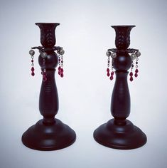 Single candle Gothic Victorian blood drop candlesticks