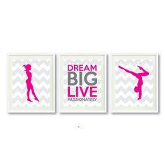 Dream Big Live Passionately Art Print Set of Three-Grey-Hot Pink-Aqua OR Choose Colors-Kids-Teen Girl Wall Wall Art Decor, Wall Art Prints, Shops, Bedroom Themes, Bedroom Ideas, Bedroom Decor, Design Bedroom, Grey Chevron, Team Gifts