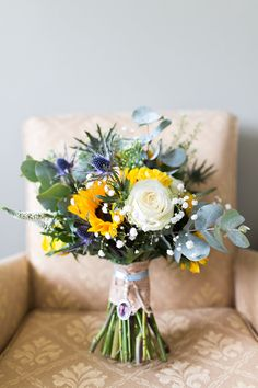 Thistle Rose Bouquet Greenery Foliage Bride Bridal Flowers Summer Sunflowers Marquee Wedding http://maddiewaters.co.uk/