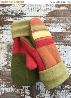 SALE Felted Wool Mittens-Yummy Stripes-Women-Teens by whimsiedots
