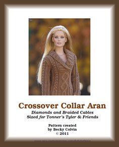 Crossover Collar Aran-TWKnitting Pattern for Tonner's
