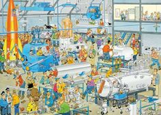 Shop Spilsbury's jigsaw puzzle store for kids and adults! This funny factory cartoon puzzle by Jan van Haasteren measures 20 X On sale now! Puzzle Store, New Puzzle, Happy Birthday Jan, Cartoon Puzzle, B Image, Illustration Story, Quirky Gifts, Cartoon Art Styles, Detail Art