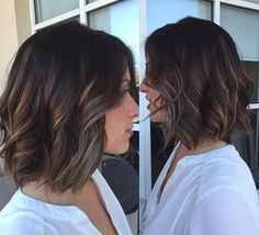 Brunette Bob Hairstyle with Light Balayage Highlights - too thin? Medium Hair Styles, Curly Hair Styles, Brunette Bob, Balayage Brunette Short, Short Brunette Hair Cuts, Brunette Balayage Hair Short, Medium Bob Hairstyles, Lob Hairstyles, Choppy Bob Haircuts
