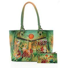 Anuschka Hand-Painted Leather Dual Front Zip Pocket Shopper Handbag w/ Wallet