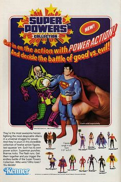 1984 Kenner ad for Super Powers figures found in most comic books. 1980s Toys, Retro Toys, Childhood Toys, Childhood Memories, Comic Book Covers, Comic Books, Comic Art, Nostalgia, Kenner Toys