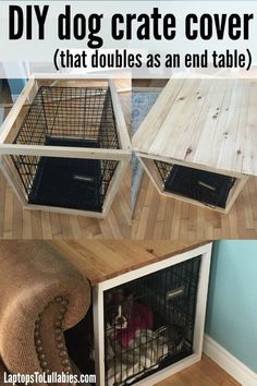 Laptops to Lullabies: DIY dog crate cover - Pets - Chien Dog Crate Cover, Diy Dog Crate, Dog Crate Furniture, Dog Crate End Table, Wood Dog Crate, Dog Kennel End Table, Puppy Crate, Coffee Table Kennel, Wood Dog Bed