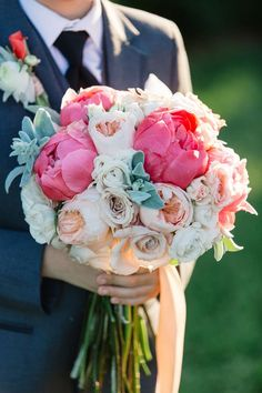 A pretty bouquet of lush garden roses and pink peonies arranged by Flora Events | Photo by Melissa Maureen