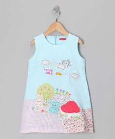 Blue 'Happy Girls' Dress - Infant, Toddler & Girls | Daily deals for moms, babies and kids