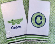 Monogrammed Burp Cloth Gift Set for Baby Boys  by SewDressedUp, $22.00