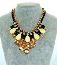 Fashion Inspired Mixed Rainbow Acrylic Crystal Bib Statement Necklace