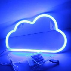Xiyunte Blue Cloud Neon Light Signs - Led Wall Decor Room Decor,battery And Usb Operated Cloud Lamps Home Decoration For Living Room,children's photo ideas from NEO Home Decor Neon Bleu, Neon Azul, Neon Room Decor, Neon Sign Bedroom, Neon Lights For Bedroom, Bedroom Signs, Neon Wall Signs, Led Neon Signs, Purple Tumblr