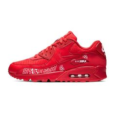 Authentic Nike Air Max 90 shoes featuring a distinct Louis Vuitton x Supreme design on the side. Turn heads and make people notice you twice whenever you wear t Red Nike Shoes, Nike Shoes Air Force, Nike Air Max, Custom Converse Shoes, Custom Shoes, Latest Nike Shoes, Air Max Sneakers, Shoes Sneakers, Bandana Print