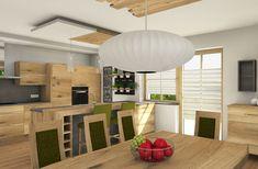 Küche in Eiche + Esstisch Divider, Furniture, Home Decor, Dinner Table, Timber Wood, Essen, Decoration Home, Room Decor, Home Furnishings