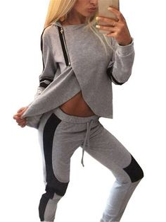 Sexy Gray Black Patchwork Zipper Split Hood Women Tracksuit Sportsuit at Banggood