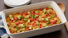 Corn tortillas and rotisserie chicken get layered with tasty ingredients like enchilada sauce, green chiles and corn for a quick and easy Mexican-style lasagna.