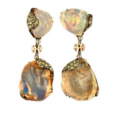 GIOIA Jelly Opal and Brown Diamond Drop Earrings - One of a kind Jelly Opal Drop Earrings. Set with Brown Diamonds and Peach Sapphire Center. Designed with organic flattering movement. Over 44 carats of Jelly Opals. $19,000