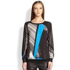 supermodel sweatshirts   Helmut Lang Fracture Printed Coating-Trimmed Sweatshirt