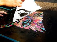 Stencil graffiti- good idea for getting a screenprinted look. Maybe try this on a background that was printed, too? Stencil Graffiti, Stencil Art, Graffiti Art, How To Graffiti, Stencil Street Art, High School Art, Middle School Art, Diy Art, Desenho Pop Art
