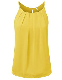 4f8928229 JJ Perfection Women's Round Neck Front Pleated Chiffon Cami Tank Top at Amazon  Women's Clothing store: