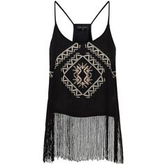 Black Embroidered Fringe Hem Cami ($15) ❤ liked on Polyvore featuring tops, tank tops, shirts, evening tops, summer tops, summer tanks, scoop neck tank top and holiday tops