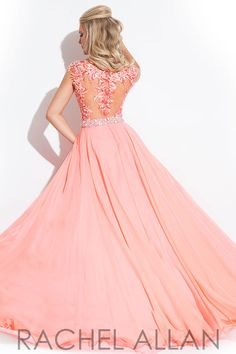 High neckline with floral design and a chiffon skirt with a high slit: prom dress by Rachel Allen