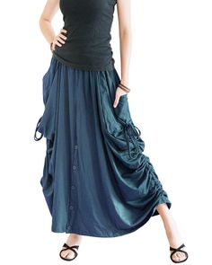 This skirt can be worn as straight long skirt, or pull up the side drawstrings to add the draping curtain effect. This skirt is convertible to wide leg pants! Skirt Pants, Dress Skirt, Bohemian Pants, Hippie Skirts, Colourful Outfits, Boho Outfits, Wide Leg Pants, Female Models, Boho Chic